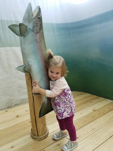 Brooke hugs fish